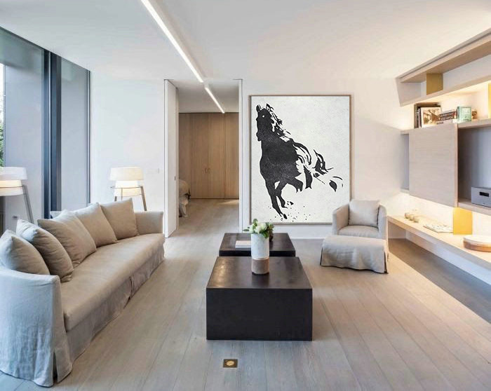 Black White Horse, Hand Made Extra Large Canvas Painting, Abstract Painting on Canvas, Original Art.