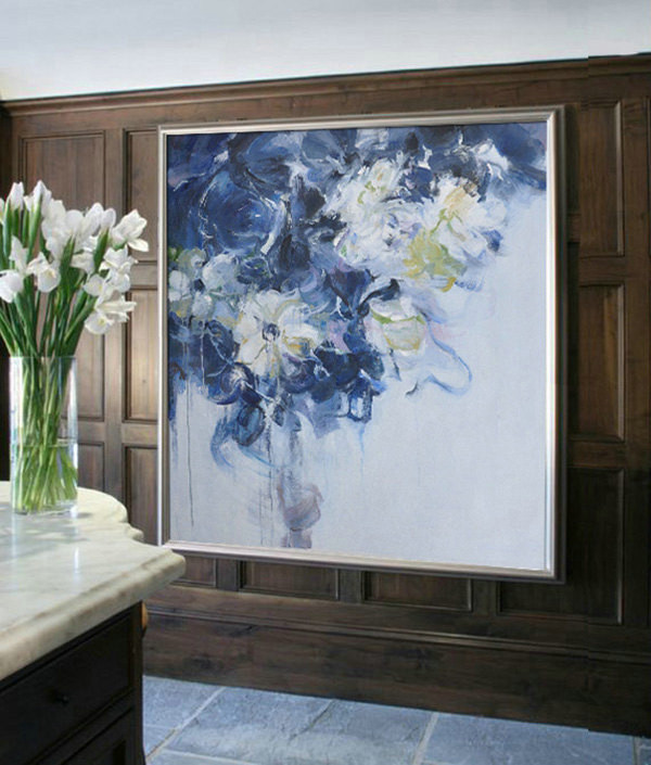 Abstract flower Oil Painting On Canvas, Original Art, Impressionist Landscape Painting by Jackson
