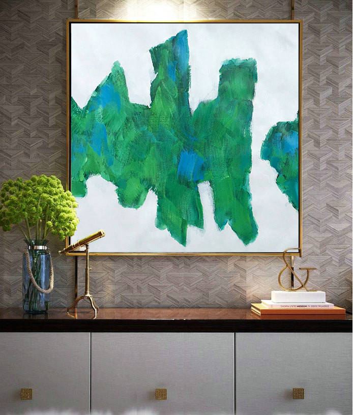 Large Contemporary Art On Canvas, Hand Paint Abstract Painting by Biao. Green, blue, black.
