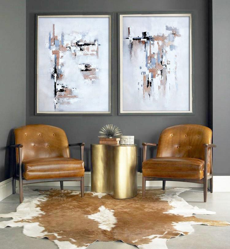 Set Of 2 Large Contemporary Painting, Abstract Canvas Art, Original Artwork by Biao. Beige, black, gray, brown, etc.