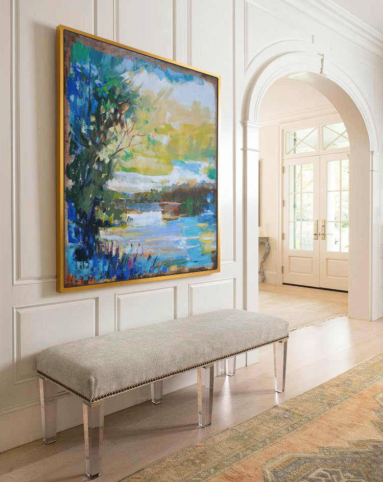 Large Abstract Landscape Oil Painting, Canvas Art. Handmade, blue, yellow, brown, etc. by Jackson