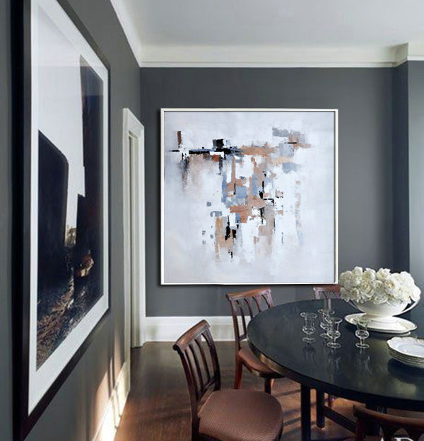 Large Acrylic Painting On Canvas, Abstract Art Decor Large Contemporary Painting by Biao. Beige, brown, black, gray, etc.