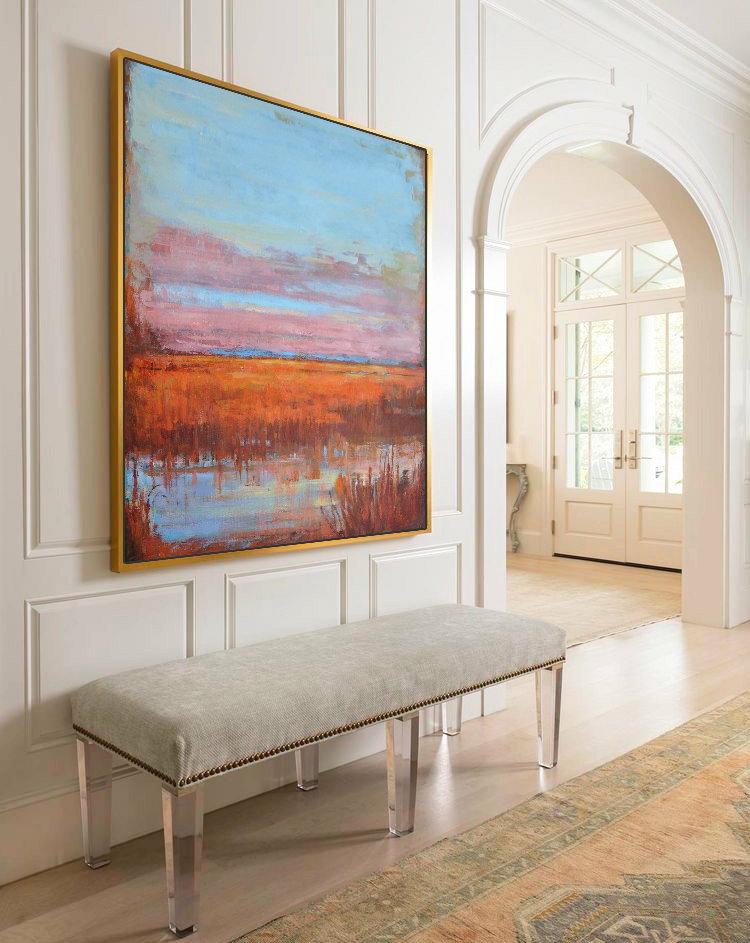 Large Abstract Landscape Oil Painting, Canvas Art. Handmade by Jackson, blue, yellow, brown, orange, etc.