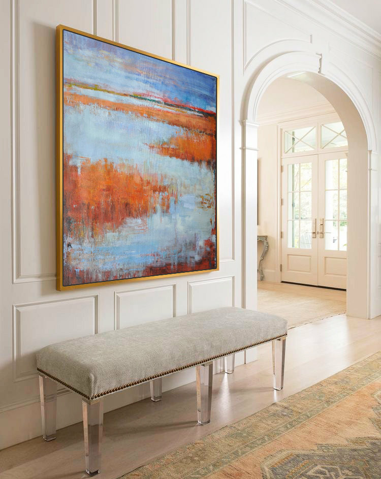 Large Abstract Landscape Oil Painting, Canvas Art. Handmade, by Jackson. blue, yellow, brown, orange, etc. by Jackson