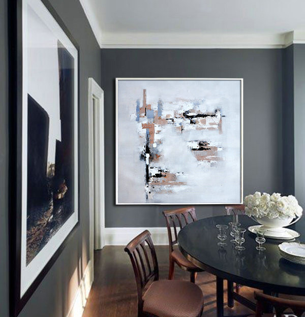 Large Acrylic Painting On Canvas, Abstract Art. Large Contemporary Painting by Biao. Brown, black, blue, gray, etc.