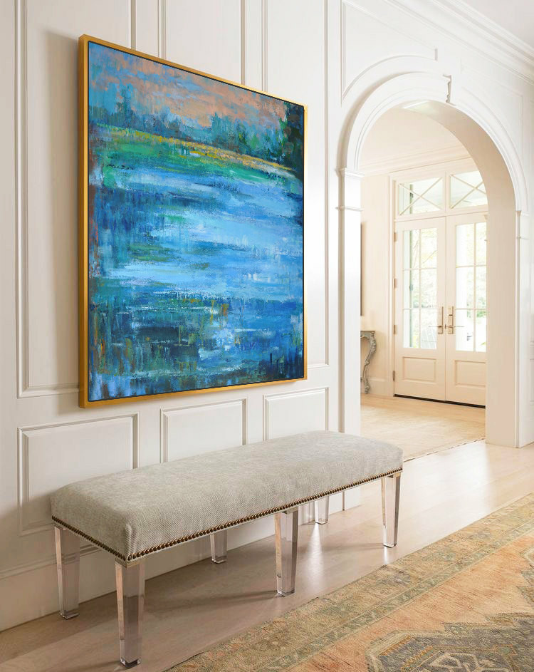 Large Abstract Landscape Oil Painting, Canvas Art. Handmade by Jackson, blue, yellow, brown, green, light pink, etc.