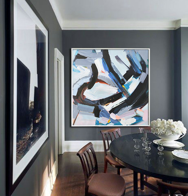 Large Contemporary Art, Handmade. Palette Knife Painting by Leo. Blue, pink, black, gray, green, etc.