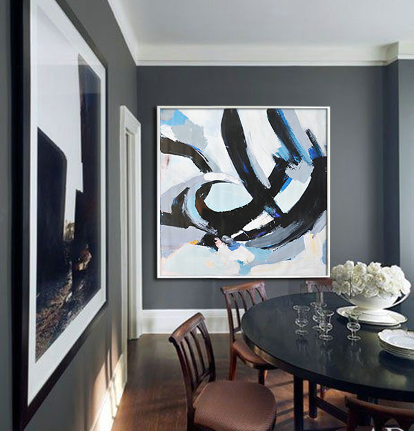 Large Contemporary Art, Handmade. Palette Knife Painting by Leo. Blue, pink, black, gray, etc.