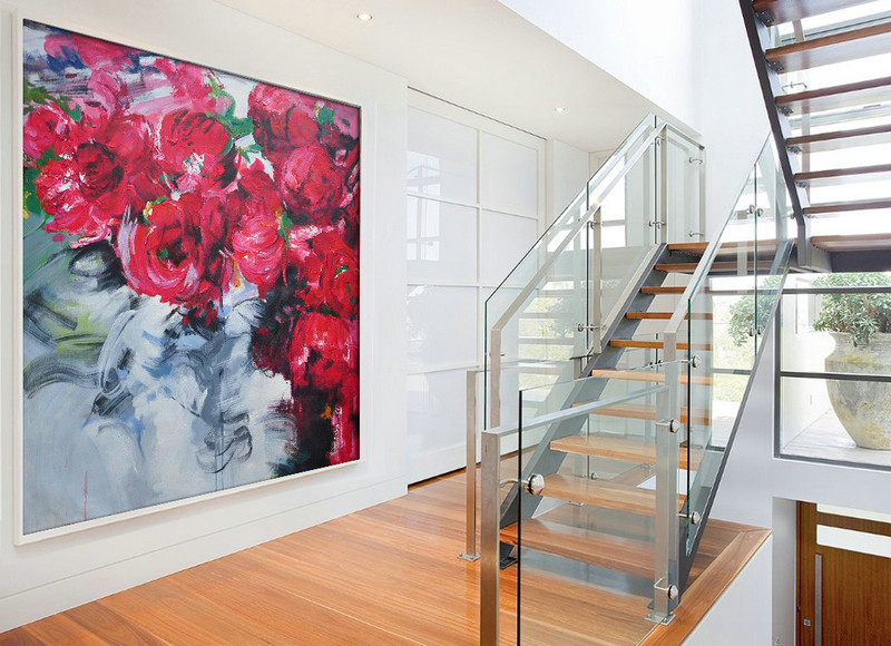 Abstract flower Oil Painting On Canvas, Original Art, Impressionist Landscape Painting by Jackson.