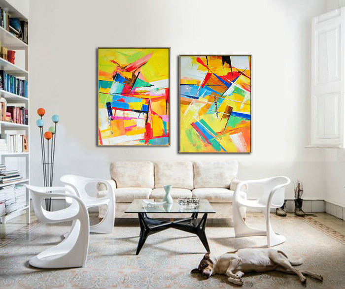 Set Of 2 Large Contemporary Painting, Original Artwork, Hand paint. Red, yellow, green, blue, purple - By Leo