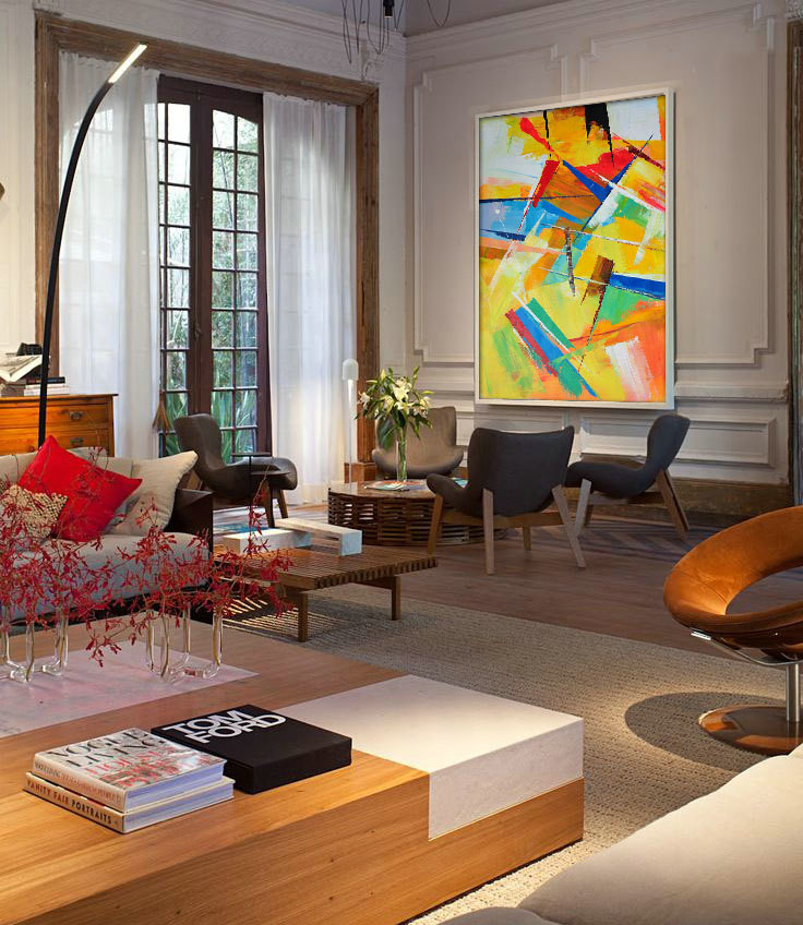 Palette Knife Painting, Huge Abstract Canvas Art, Original Artwork by Leo. yellow, blue, red, brown, pink, etc.