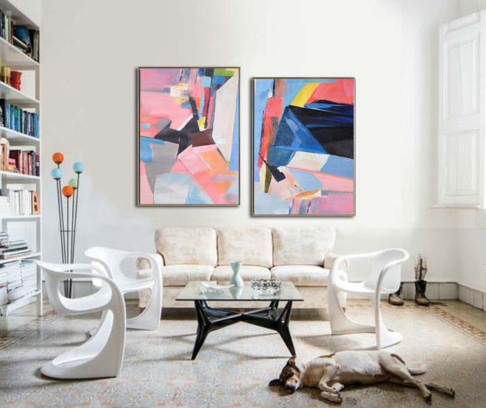 Set Of 2 Large Contemporary Painting, Original Artwork by Leo, Hand paint. Blue, yellow, green, pink - By Leo