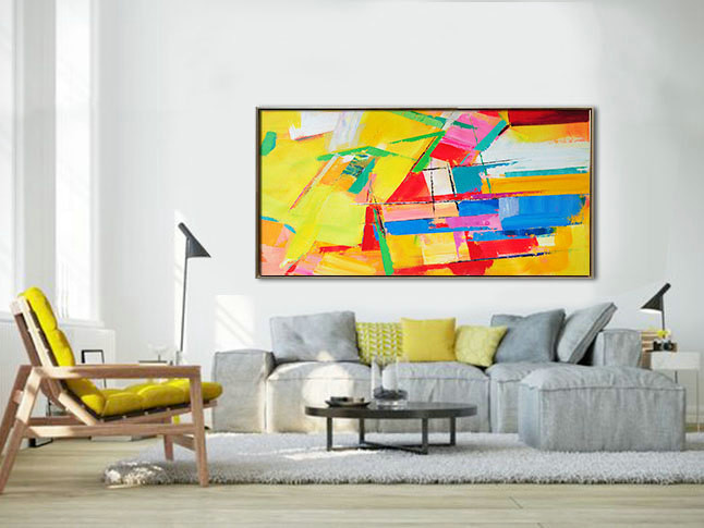Palette Knife Painting, Original Horizontal Wall Art, Abstract Art Canvas Painting, Yellow, blue, red, green. - By Leo