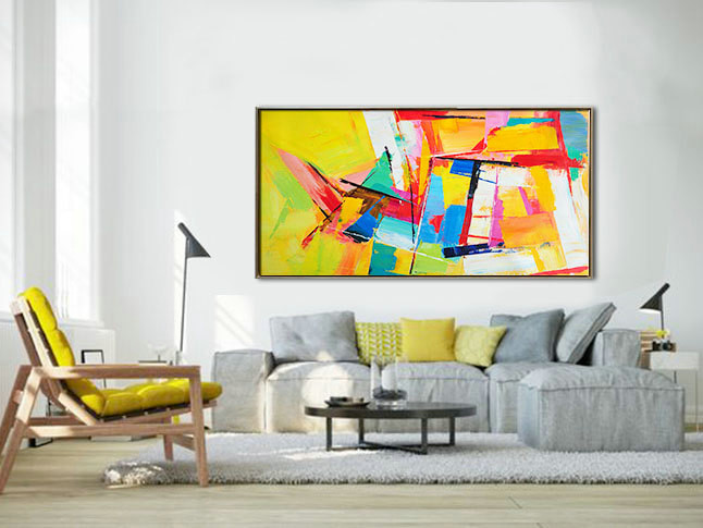 Palette Knife Painting, Original Horizontal Wall Art, Abstract Art Canvas Painting, Large Art. Yellow, blue, red, green.