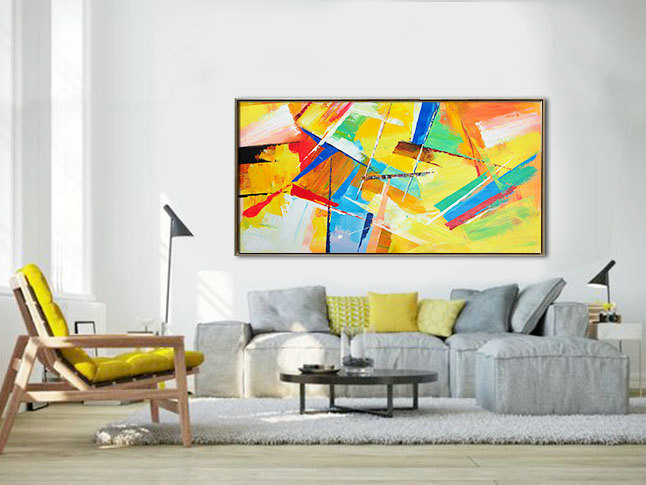 Palette Knife Painting, Original Horizontal Wall Art, Abstract Art Canvas Painting, Large Art. - By Leo