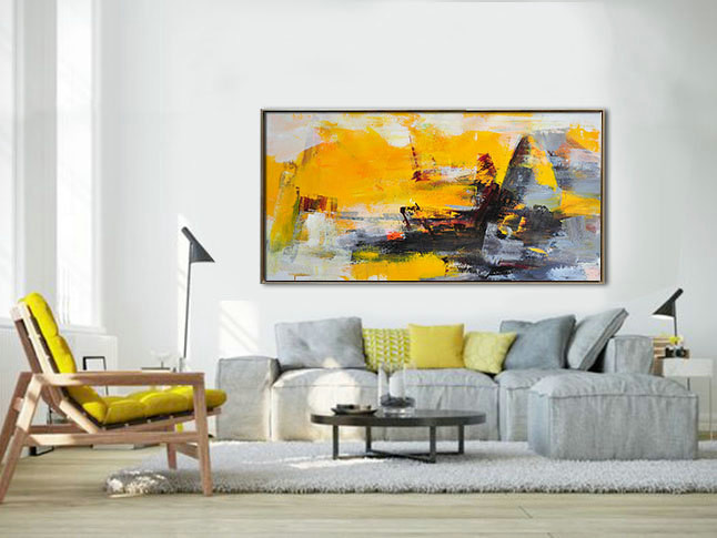 Palette Knife Painting, Original Horizontal Wall Art, Abstract Art Canvas Painting, Large Art. Yellow, gray - By Leo