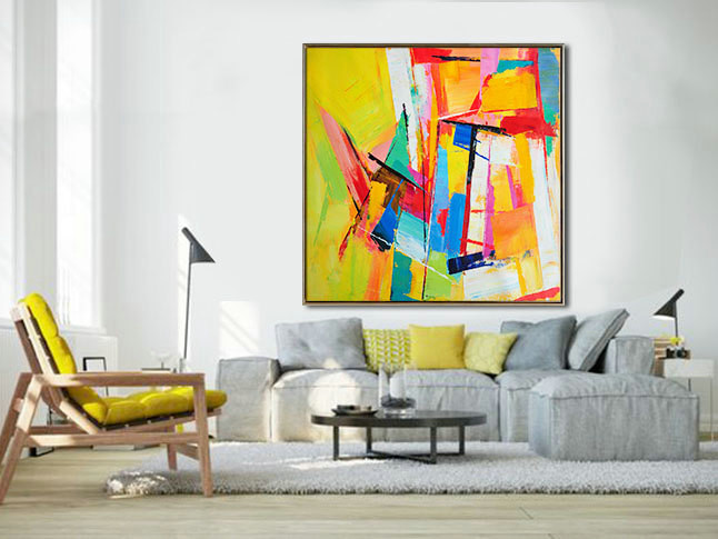 Large Palette Knife Painting On Canvas, Abstract Art Decor. Large Contemporary Painting by Leo, blue, green, yellow, red.