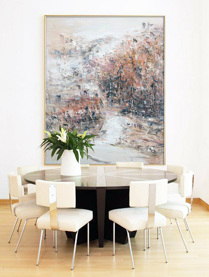 "Original Abstract Landscape Painting, Canvas Art Handmade Oil Painting, One-of-a-kind, IN STOCK, 48""X64"" - by Sambo."
