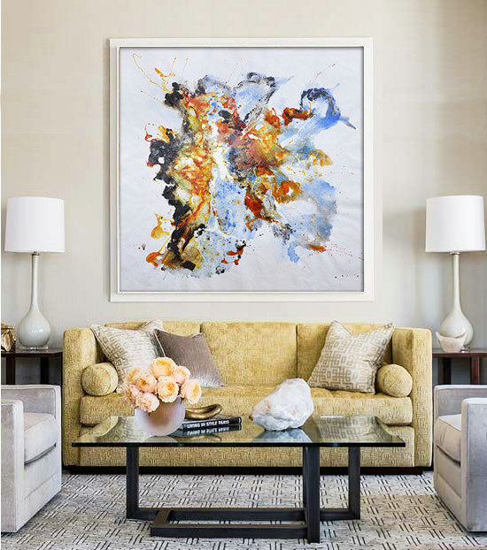 "Large Contemporary Art Original Oil Painting On Canvas. One-of-a-kind, IN STOCK, 48""X48""/122x122cm. Yellow, blue, brown."