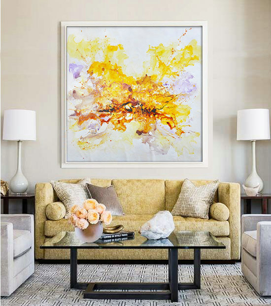 "Large Contemporary Art Original Oil Painting On Canvas. One-of-a-kind, IN STOCK, 48""X48""/122x122cm. Yellow, purple, brown"