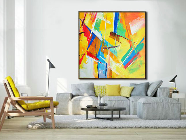 Large Palette Knife Painting On Canvas, Abstract Art. Large Contemporary Painting, blue, green, blue, red, yellow. By Leo