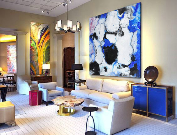"Large Contemporary Art Original Oil Painting On Canvas. One-of-a-kind, IN STOCK, 48""X48""/122x122cm. blue, white, black."