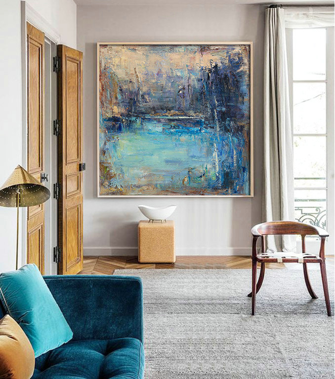 "Original Abstract Landscape Painting, Canvas Art. Handmade Oil Painting, One-of-a-kind, IN STOCK, 48""X48"", by Sambo."