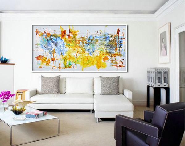 "Large Contemporary Art, Oil Painting On Canvas, Original Art. One-of-a-kind, IN STOCK, 36""x72"". Yellow, brown, blue, green"