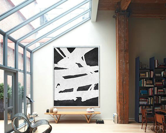 Extra Large Acrylic Painting On Canvas, Minimalist Painting Canvas Art, Black And White Geometrical Painting