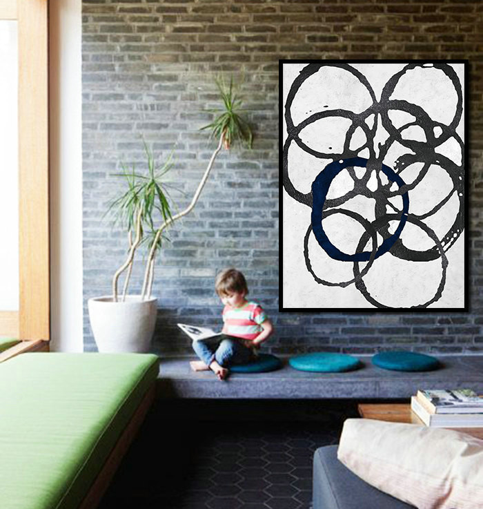 Large Abstract Painting Minimalist Art, Hand Painted Contemporary Ar Geometric Art. Black White Acrylic Painting.
