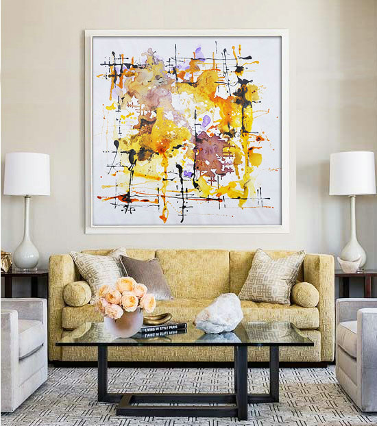 "Large Contemporary Art Original Oil Painting On Canvas. One-of-a-kind, IN STOCK, 40""X40""/102x102cm."