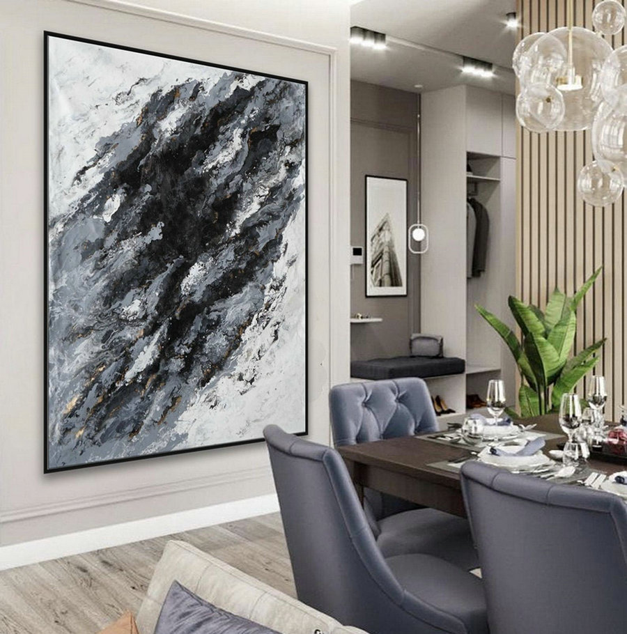 "Extra Large Acrylic Fluid Art Abstract Oversize Modern Black White Marble Wall Art Painting 60x80"" / 150x200cm"