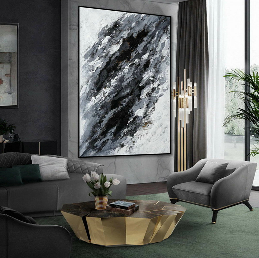 Minimal Modern Wall Art Abstract Black White Minimalist Contemporary Hand Painted Acrylic Canvas Painting Extra Large Vertical 72""