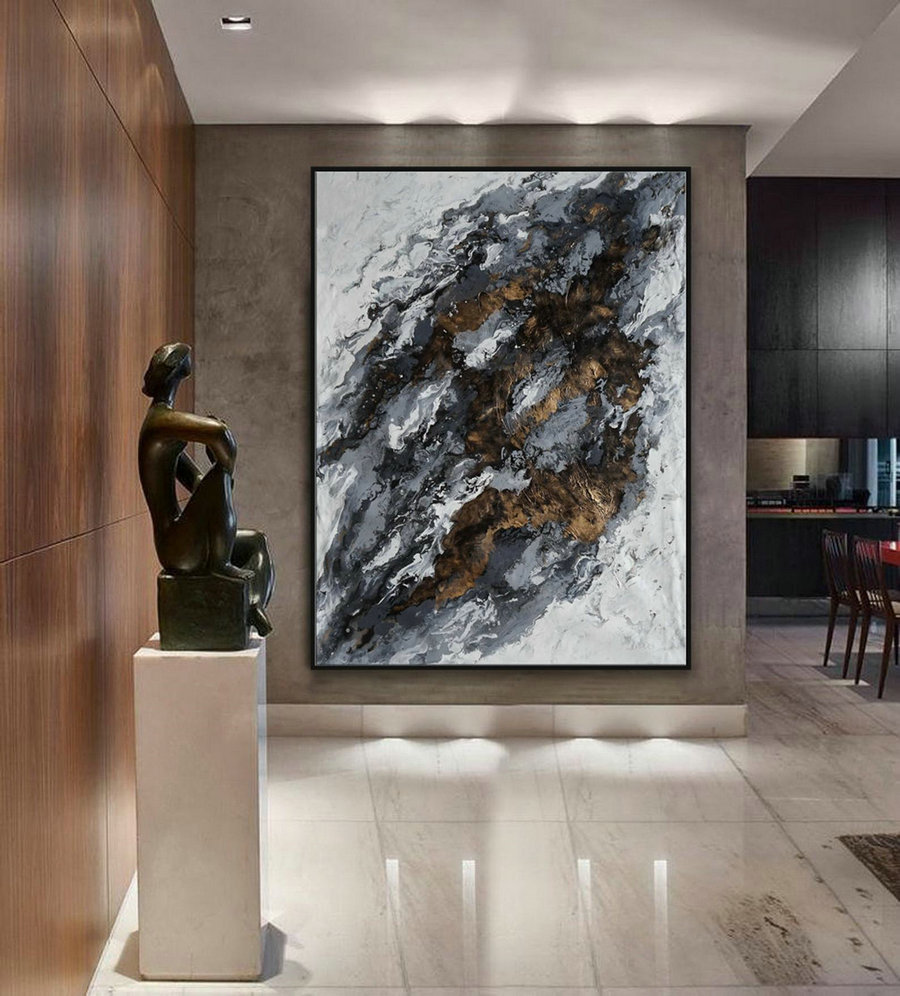 "Extra Large Acrylic Fluid Art Abstract Oversize Modern Black Gold White Marble Wall Art Painting 60x80"" / 150x200cm"