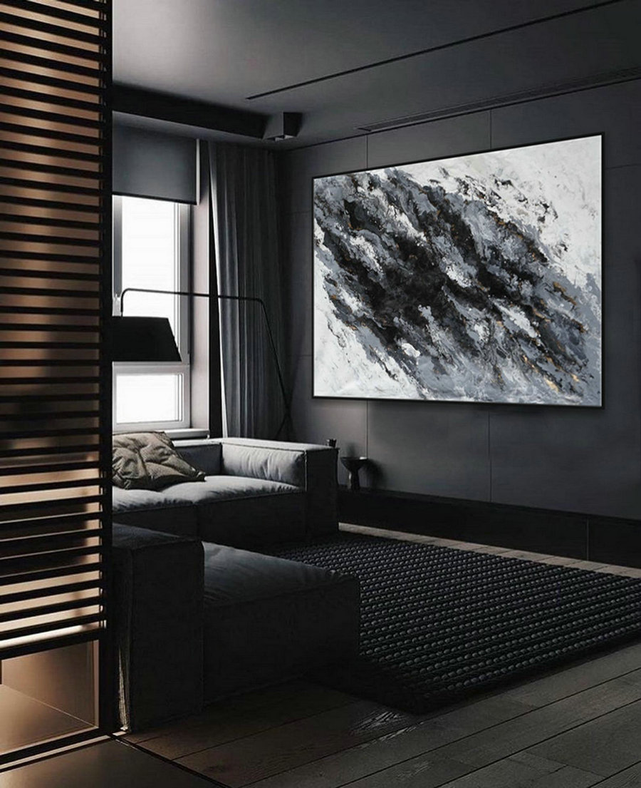 "Modern Fluid Art Oversize Abstract Black White Super Extra Large Acrylic Wall Art Painting 60x80"" / 150x200cm"