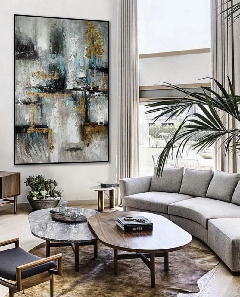 Minimalist Contemporary Hand Painted Acrylic Canvas Painting Extra Large Minimal Modern Neutral Wall Art Vertical Abstract Artwork