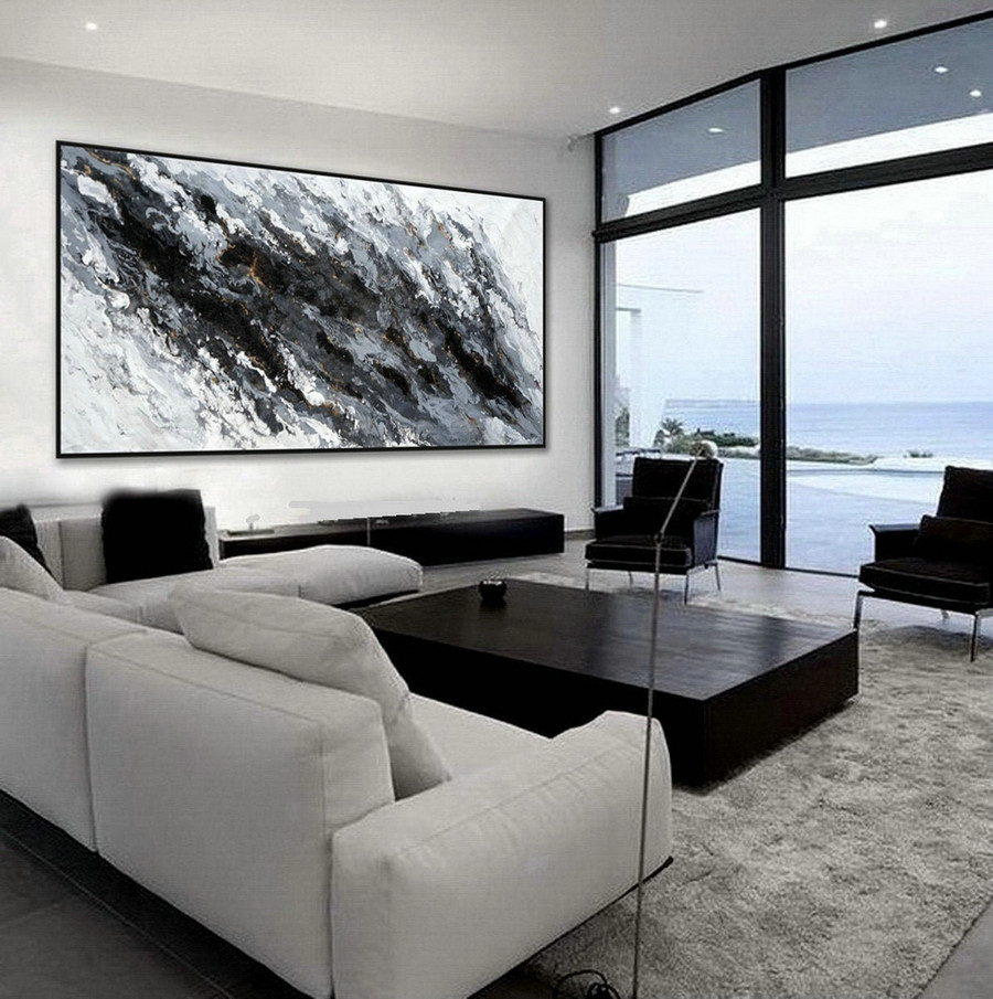 Extra Large Acrylic Modern Marble Fluid Art Abstract Hand Painted Black and White Wall Art Painting
