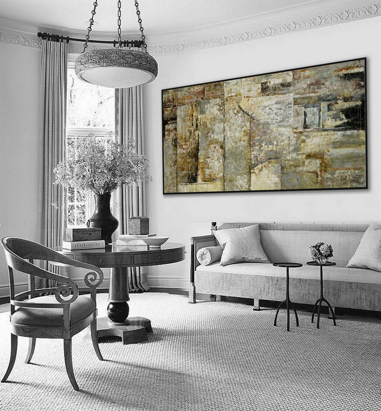"Extra Large Panoramic Modern Abstract Wall Art Hand Painted Black and White Contemporary Thick oil Painting On Canvas 48 x 96"" XXL"