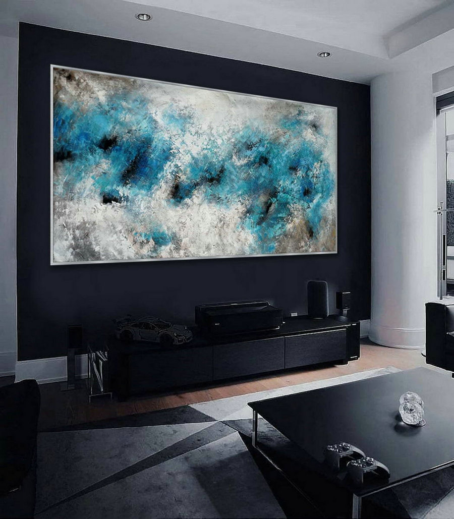 "Panoramic Contemporary Modern Neutral Wall Art Extra Large Easy Simple Abstract Acrylic Painting on Canvas White Black 48x96"" Long XL"