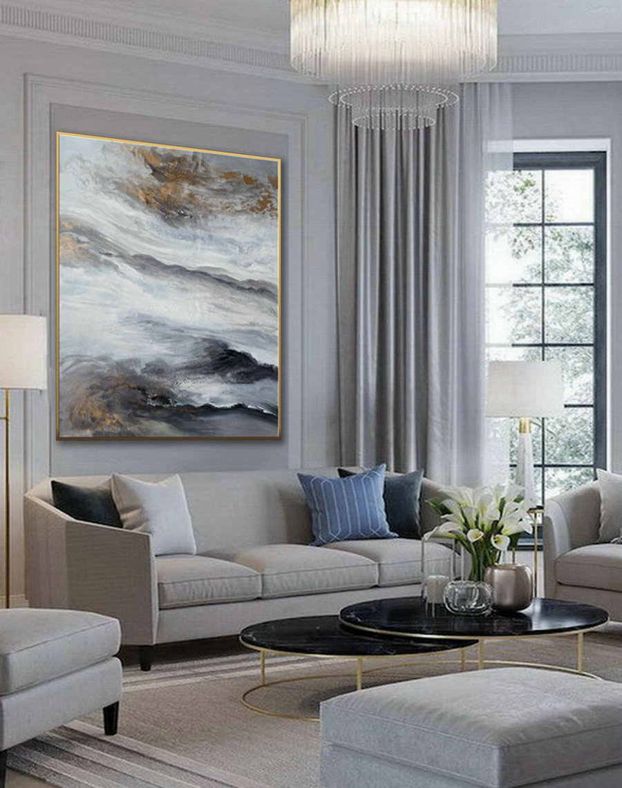 Acrylic Fluid Art Large Modern Abstract Wall Art Hand Painted Painting Gray White Black Dining Living Room Decor Art