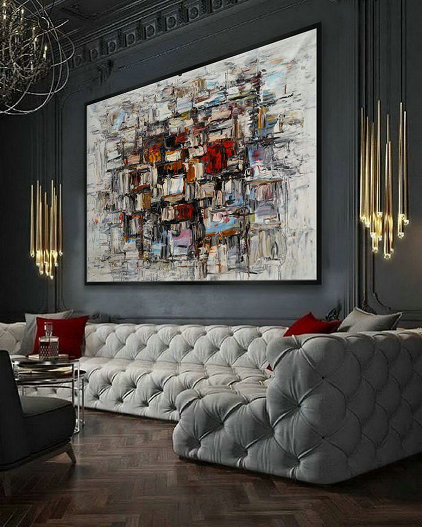 "Modern Contemporary Hand Painted Palette Knife Thick Oil Painting On Canvas Extra Large Wall Art XXL 60x80"" / 150x200cm"