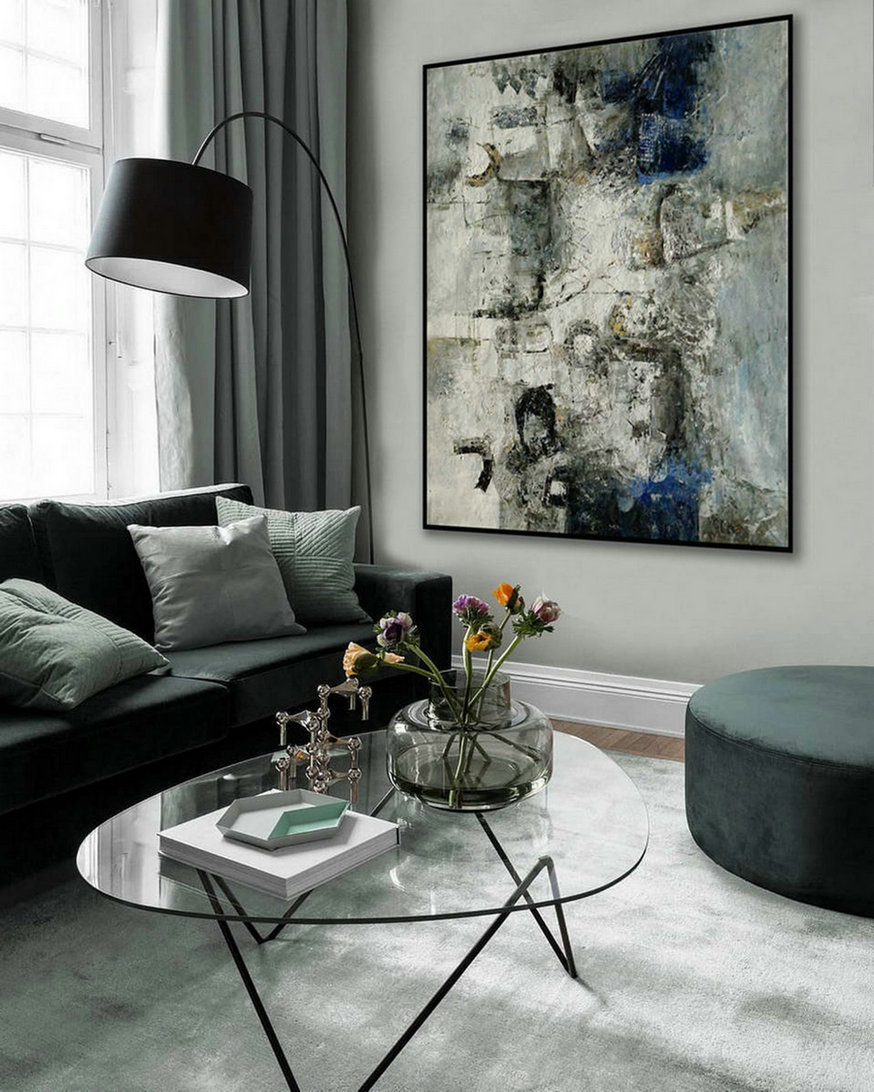 Modern Neutral Abstract Wall Art Texture Minimalist Contemporary Art Work Hand Made Oil Painting on Canvas Large Minimal Artwork