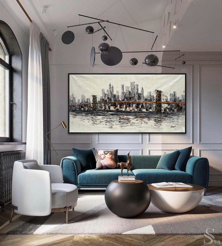 Extra Large Panoramic Modern Abstract Wall Art Hand Painted Gray and White New York Contemporary oil Painting On Canvas 48 x 96""