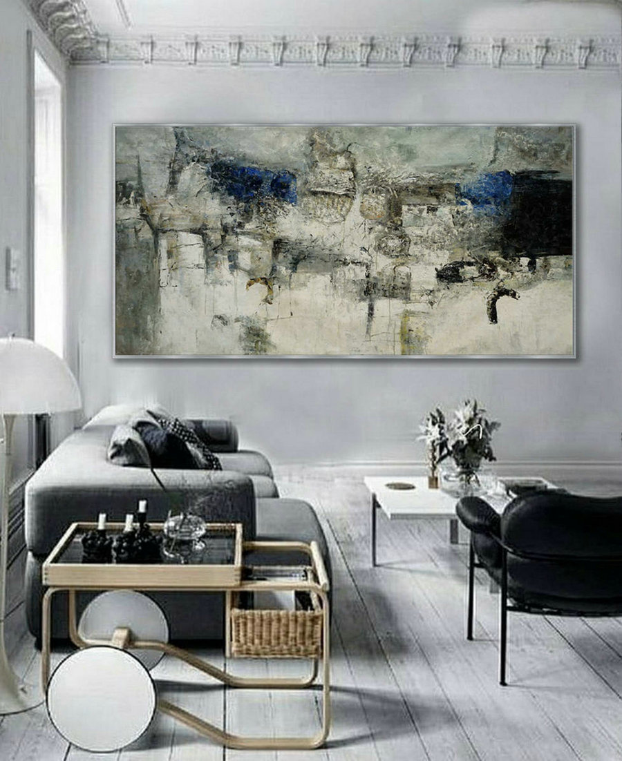 Extra Large Panoramic Modern Abstract Wall Art Hand Painted Black and White Contemporary Thick oil Painting On Canvas 48 x 96""