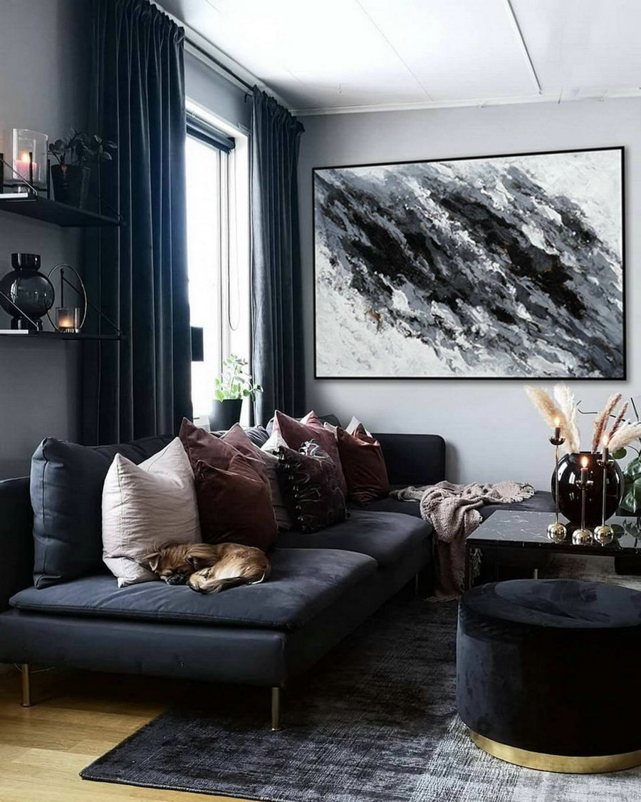Minimal Modern Wall Art Abstract Black White Minimalist Contemporary Hand Painted Acrylic Canvas Painting Extra Large Horizontal 72""