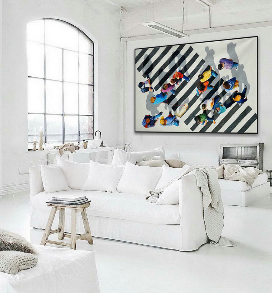 Extra Large Black And White Modern Wall Abstract Artwork Hand Painted Contemporary Art Decor Oil Painting on Canvas 48x72""