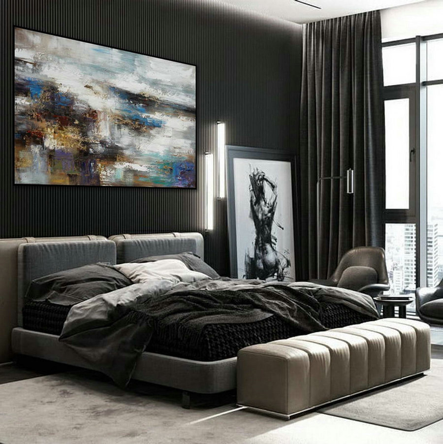 Texture Abstract Oversize Modern Contemporary Canvas wall Art Hand Painted Extra Large Textured Artwork Horizontal Acrylic Painting