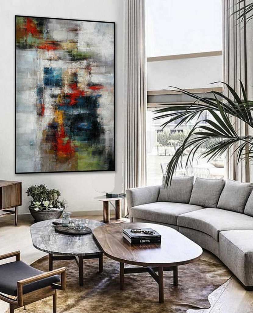 "Texture Abstract Oversize Modern Contemporary Canvas wall Art Hand Painted Extra Large Textured Artwork Vertical Oil Painting 72"" XL"