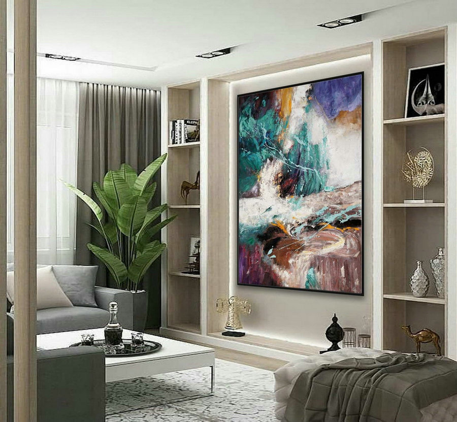 "Texture Abstract Oversize Modern Contemporary Canvas wall Art Handmade Extra Large Textured Vertical Acrylic Artwork Painting 72"" XL"