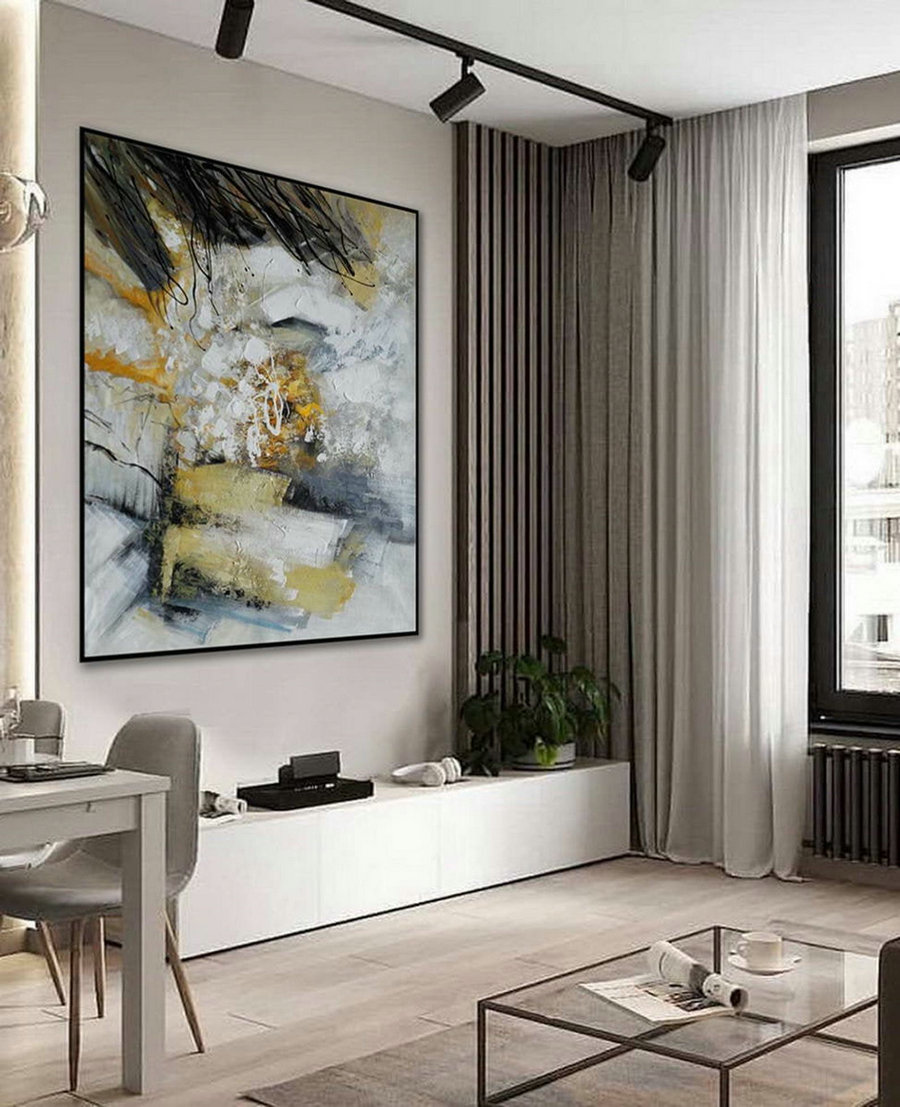 Modern Neutral Abstract Wall Art Texture Minimalist Contemporary Art Work Hand Made Acrylic Canvas Painting Large Minimal Artwork